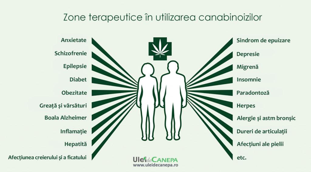zone terapeutice in utilizarea canabinoizilor